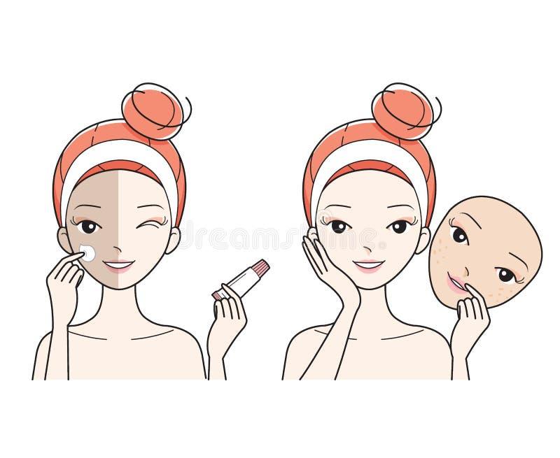 Visage de soin de jeune femme, mauvais à la bonne peau de visage de couleur illustration de vecteur