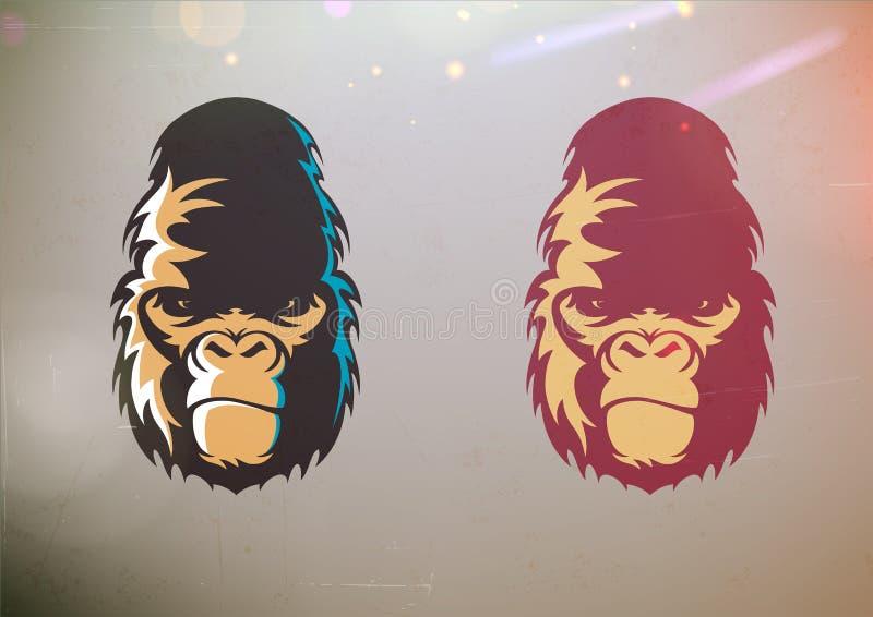 Visage de sourire affecté de gorille illustration de vecteur