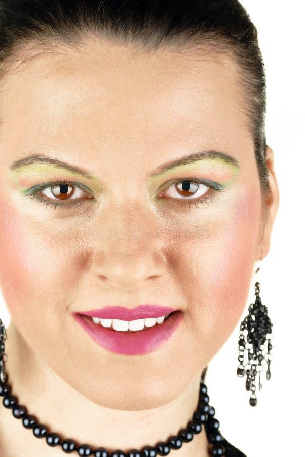 Visage de sourire de femme avec les dents blanches grandes photo stock