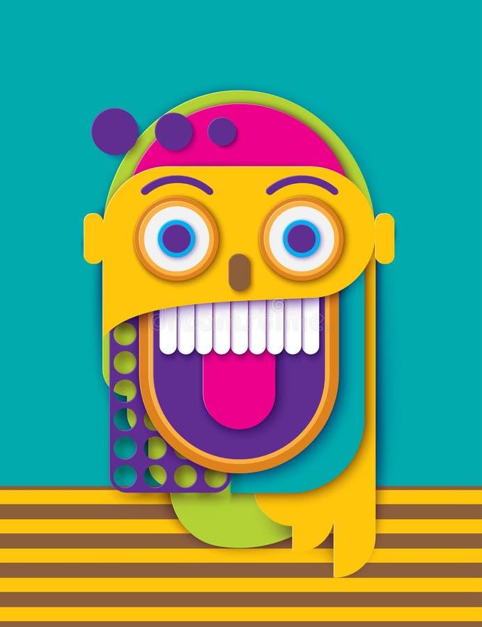 Visage de sourire fou humain de papier abstrait Forme géométrique colorée illustration stock