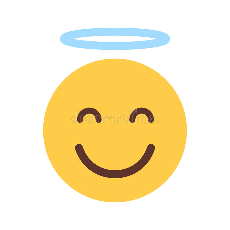 Visage de sourire jaune Angel Emoji People Emotion Icon mignon de bande dessinée illustration de vecteur