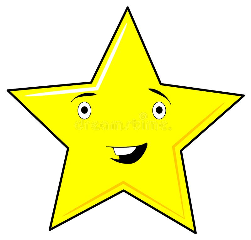 Visage de sourire jaune mignon et drôle d'étoile - conception de trame de png illustration de vecteur