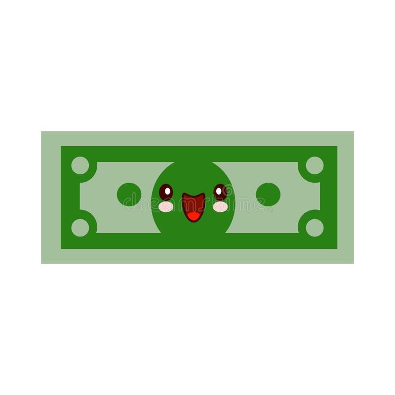 Visage de sourire de kawaii de caractère d'argent de bande dessinée Dollar vert plein d'assurance dans le style plat Concept fina illustration de vecteur