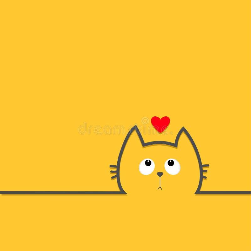 Visage de tête de chat noir avec des yeux recherchant au coeur rouge Ligne icône de silhouette de découpe Personnage de dessin an illustration libre de droits