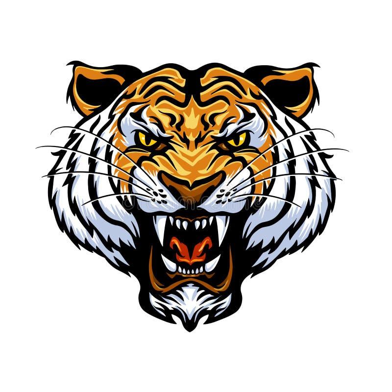 Visage de tigre de bande dessinée illustration stock