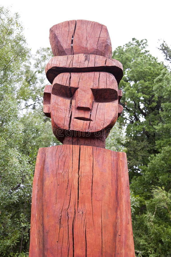 Visage de totem de Mapuchean chez Temuco. photographie stock
