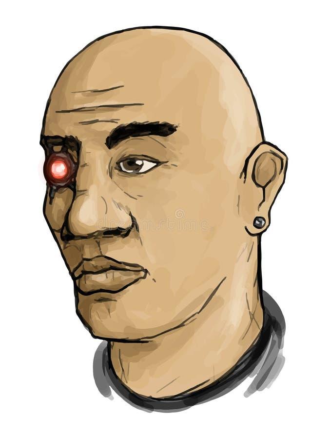 Visage de vecteur d'homme de Cyberpunk avec la boucle d'oreille et l'oeil rouge artificiel illustration de vecteur