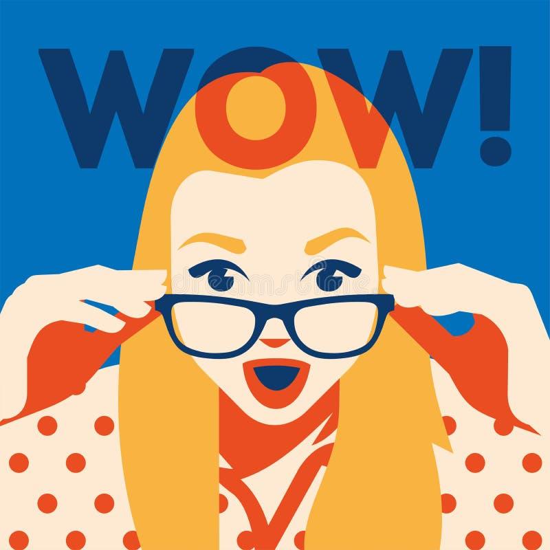 Visage de wow de la femme étonnée tenant des lunettes de soleil dans sa main illustration de vecteur