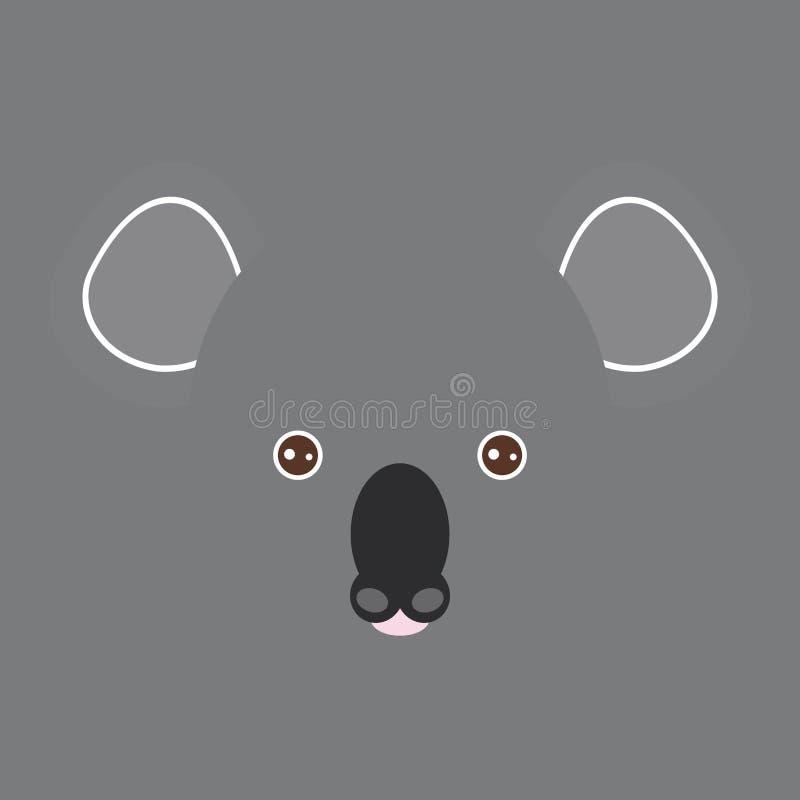 Visage drôle australien d'ours de koala sur le fond gris Vecteur illustration de vecteur