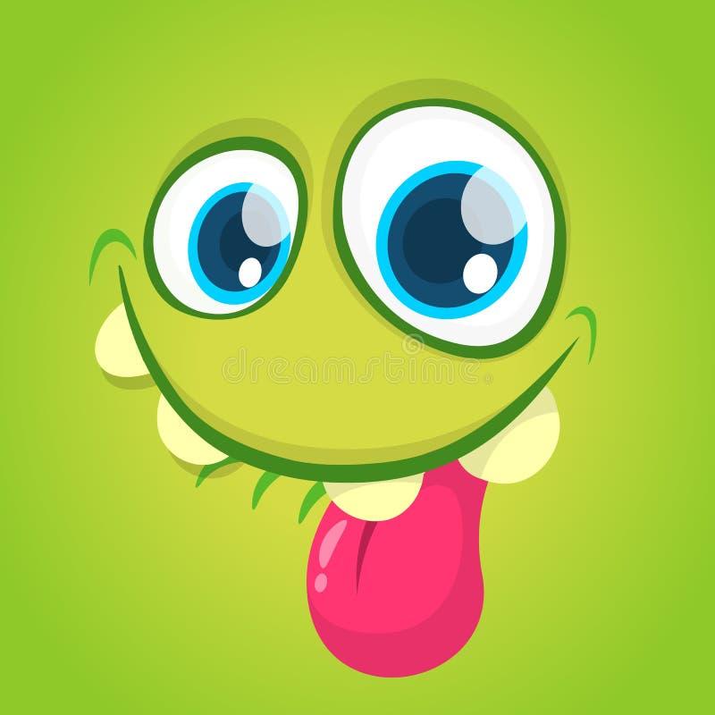 Visage drôle de monstre de bande dessinée de vecteur avec de grands yeux montrant la langue Monstre de vert de Halloween de vecte illustration de vecteur