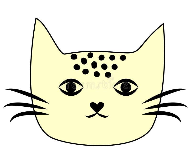 Visage drôle mignon de kawaii de chaton de chat Icône plate de minou cartoon illustration stock