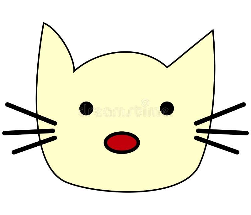 Visage drôle mignon de kawaii de chaton de chat Icône plate de minou cartoon illustration libre de droits