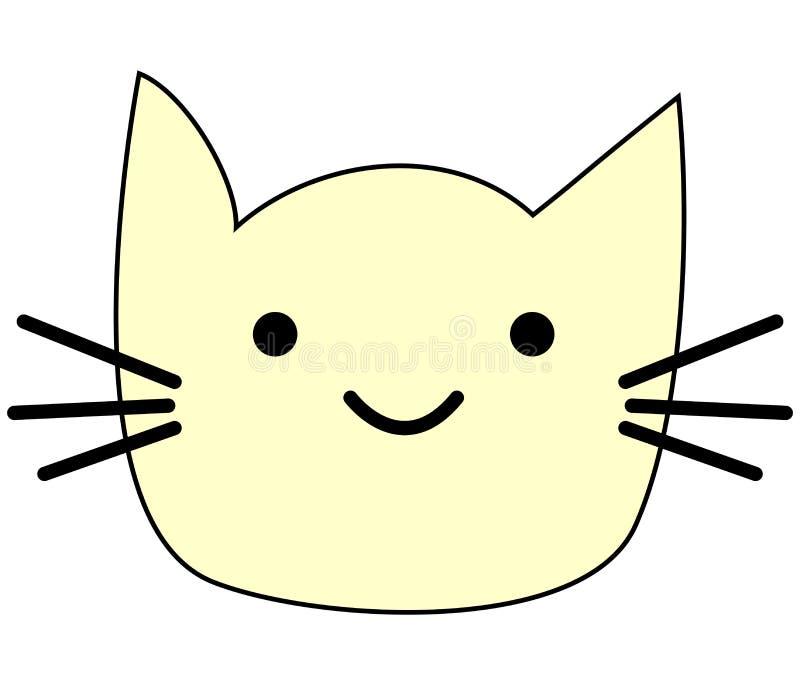 Visage drôle mignon de kawaii de chaton de chat Icône plate de minou cartoon illustration de vecteur