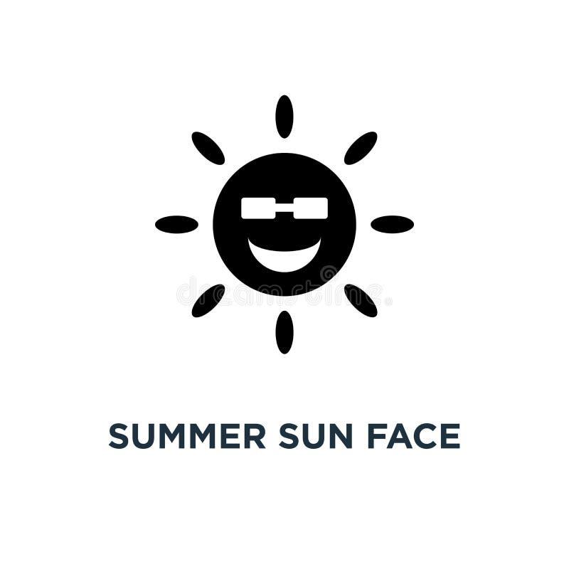 Visage du soleil d'été avec l'icône de lunettes de soleil Illustratio simple d'élément illustration de vecteur