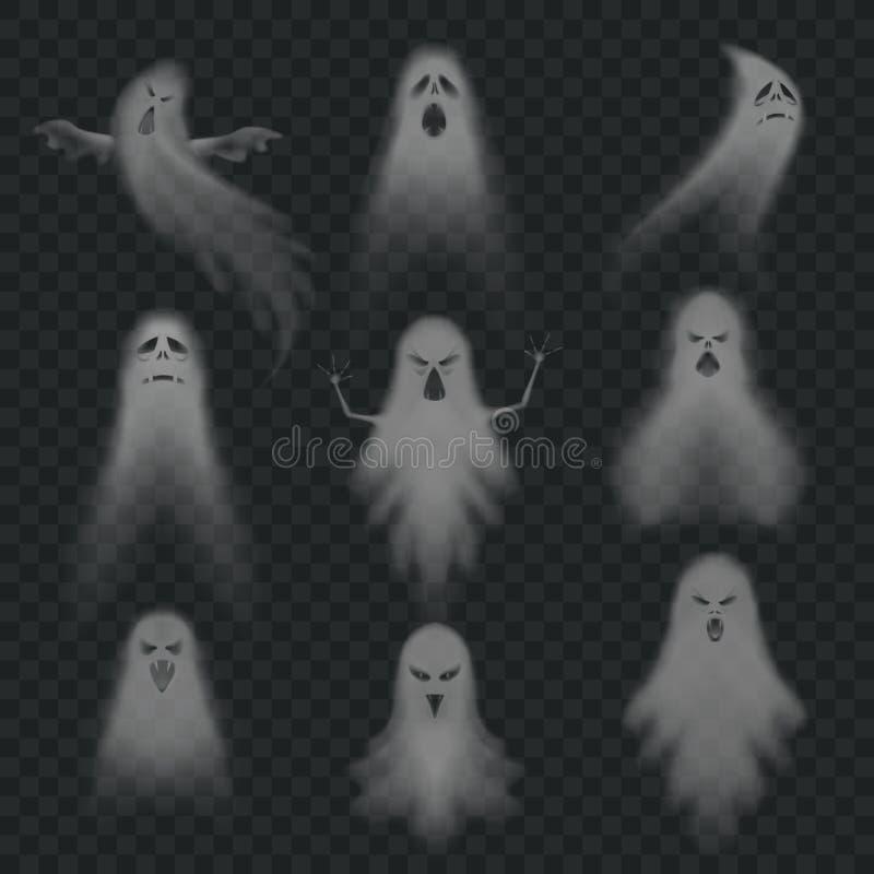 Visage effrayant d'apparition de Halloween de fantôme réaliste, chiffre fantôme fantomatique de mouche ou ensemble mort mystérieu illustration de vecteur