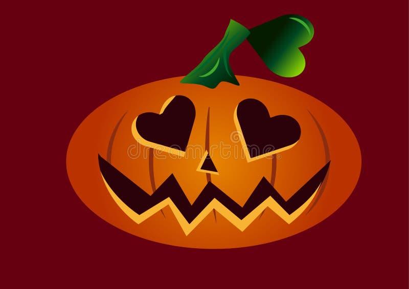 Visage effrayant de potiron de Halloween dans l'amour avec les yeux en forme de coeur illustration de vecteur