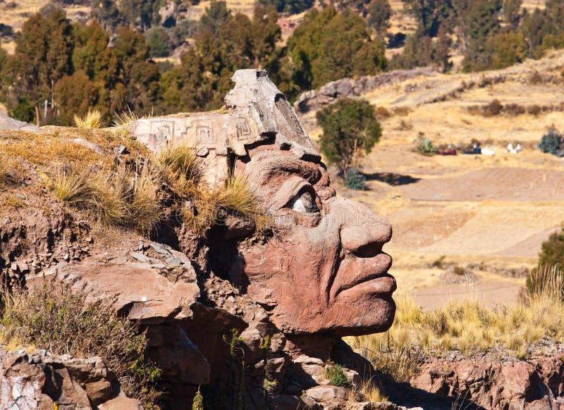 Visage en pierre d'Inca, Puno, Pérou photo libre de droits