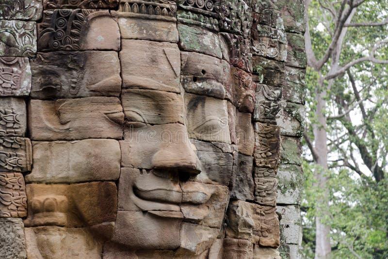 Visage en pierre dans Bayon Templex images stock