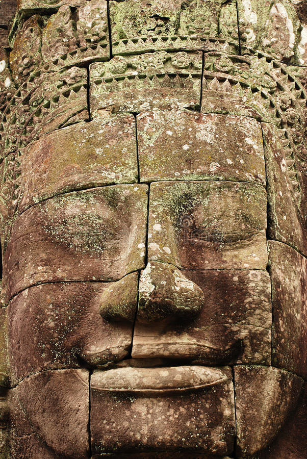 Visage en pierre, le temple de Bayon, Angkor Vat, Cambodge photo stock