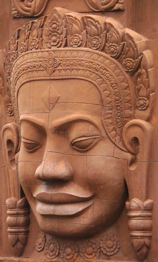 Visage en pierre Phnom Penh Cambodge de sable images libres de droits
