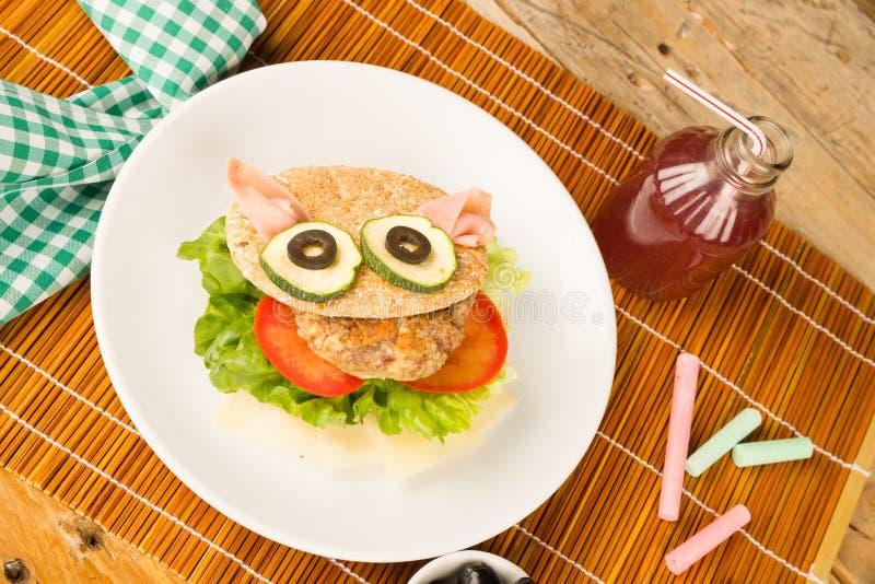 Visage et boisson d'hamburger images libres de droits