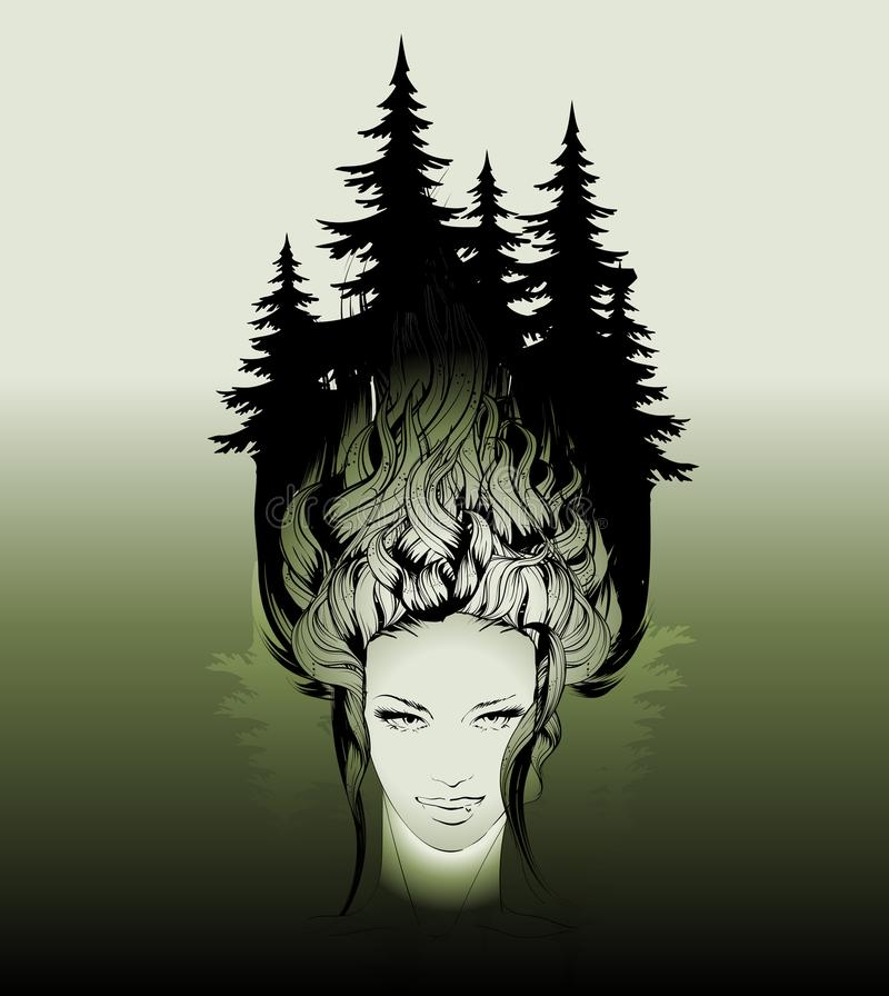 Visage et cheveux femelles avec une forêt grandissante de pin illustration de vecteur