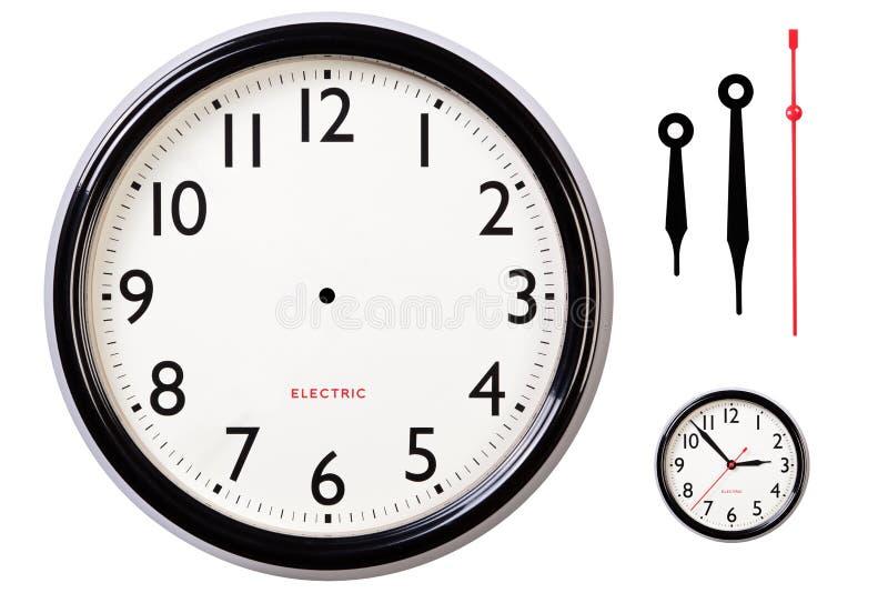 Visage et mains d'horloge blanc photographie stock