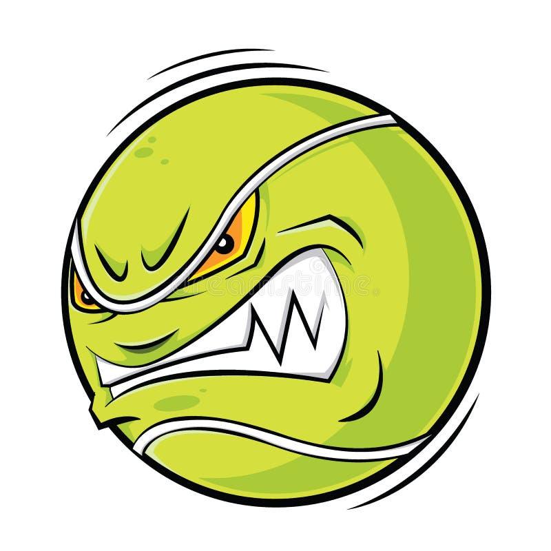 Visage fâché de balle de tennis de bande dessinée illustration de vecteur