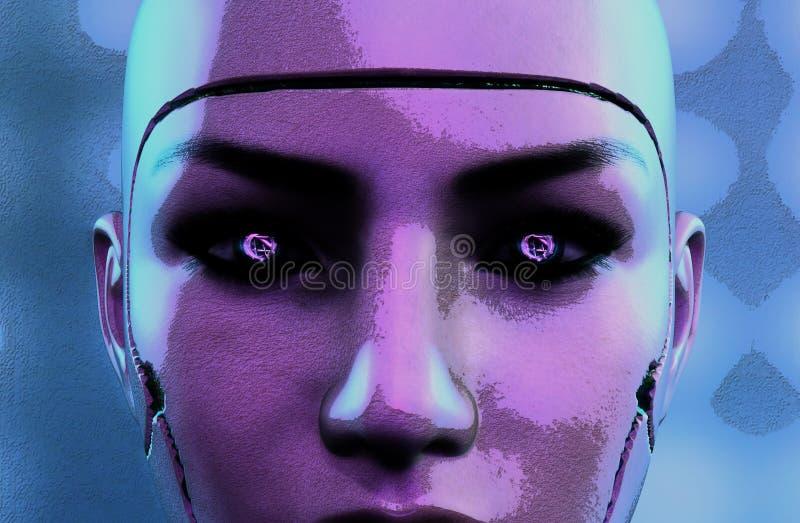 Visage femelle foncé de robot illustration de vecteur