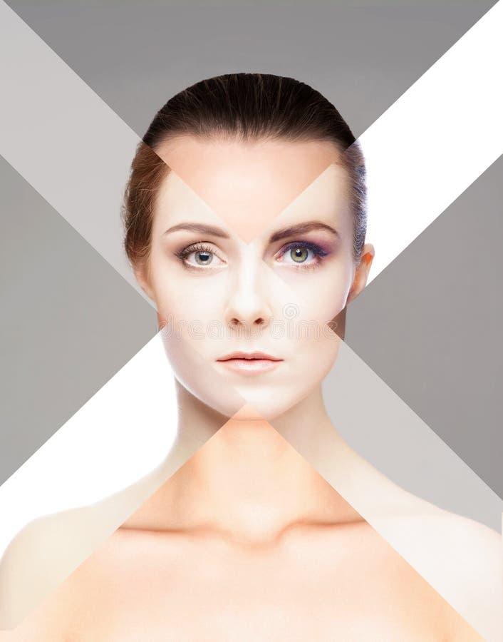 Visage femelle parfait fait de différents visages Concept de chirurgie plastique images stock