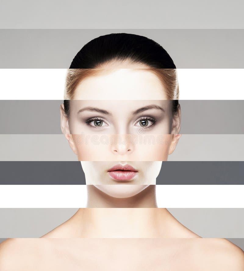 Visage femelle parfait fait de différents visages Concept de chirurgie plastique Collage d'autocollant photos libres de droits