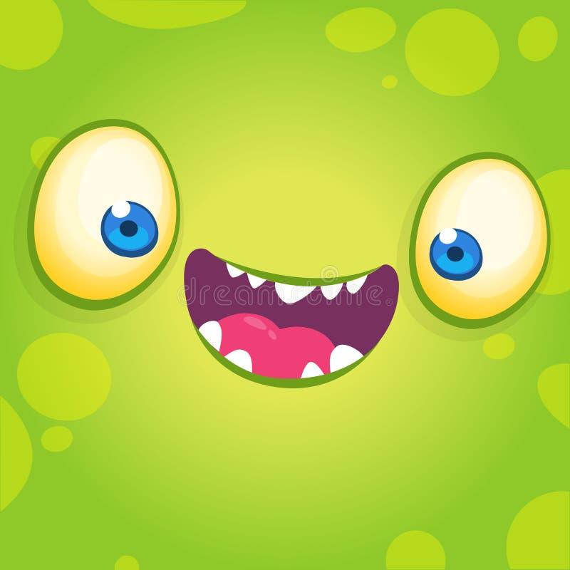 Visage frais adorable de monstre de bande dessinée Illustration de vecteur de Halloween d'avatar de sourire vert de monstre illustration libre de droits