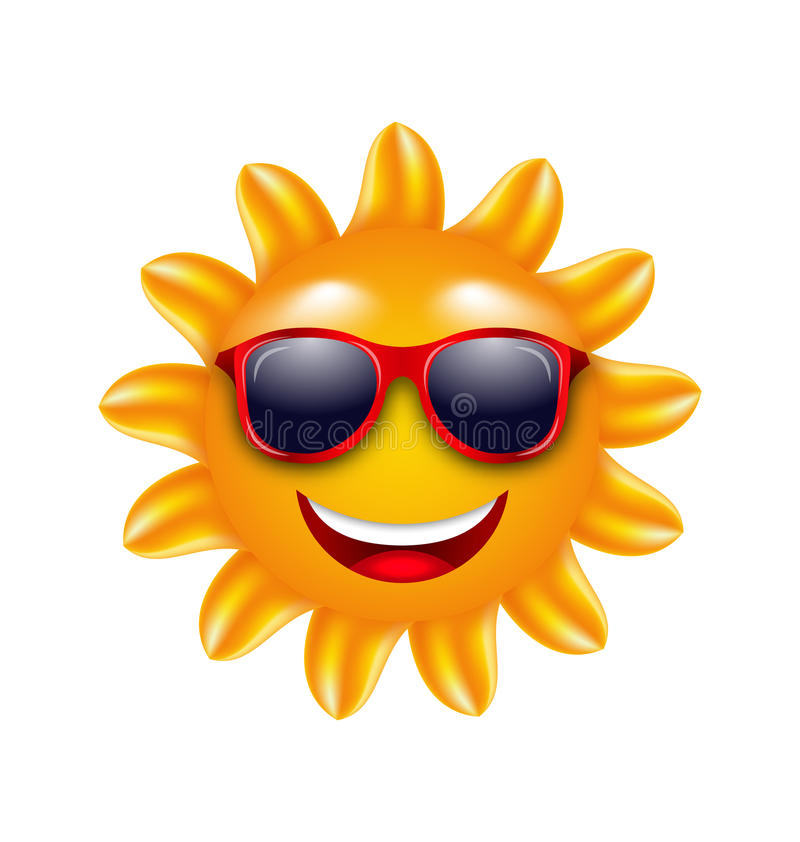 Visage gai d'été Sun avec des lunettes de soleil illustration de vecteur