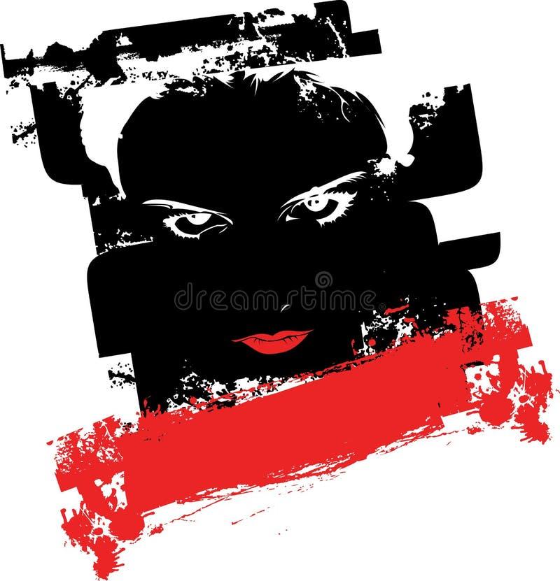 Visage grunge noir et rouge de fille de graffiti. illustration de vecteur