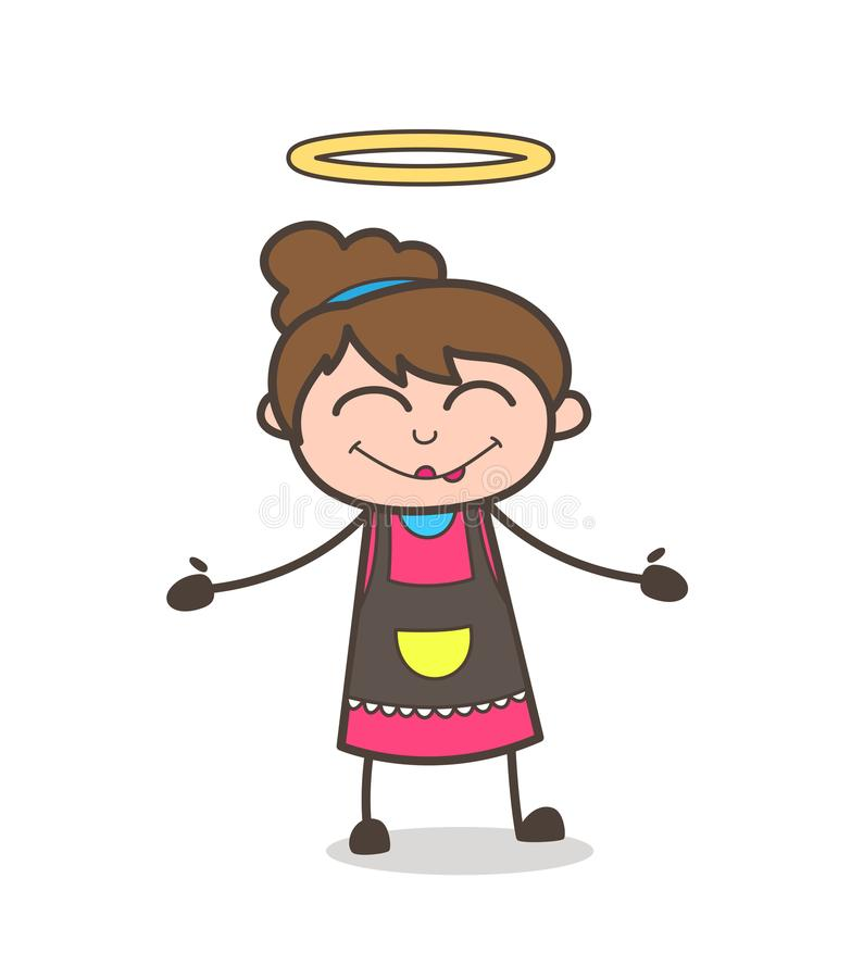 Visage heureux avec le halo - vecteur de Girl Artist Cartoon d'esthéticien illustration libre de droits