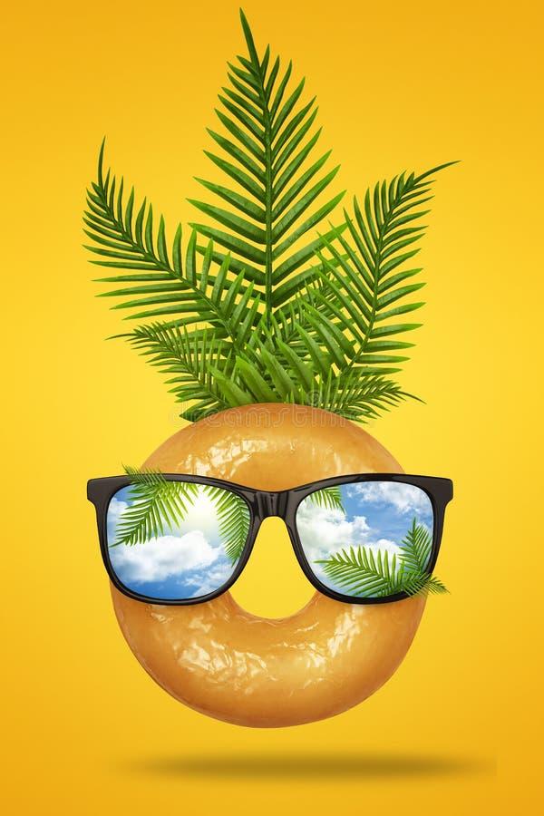 Visage heureux d'amusement fait de beignet avec les lunettes de soleil, la paume tropicale verte de feuilles sur le jaune en past image stock