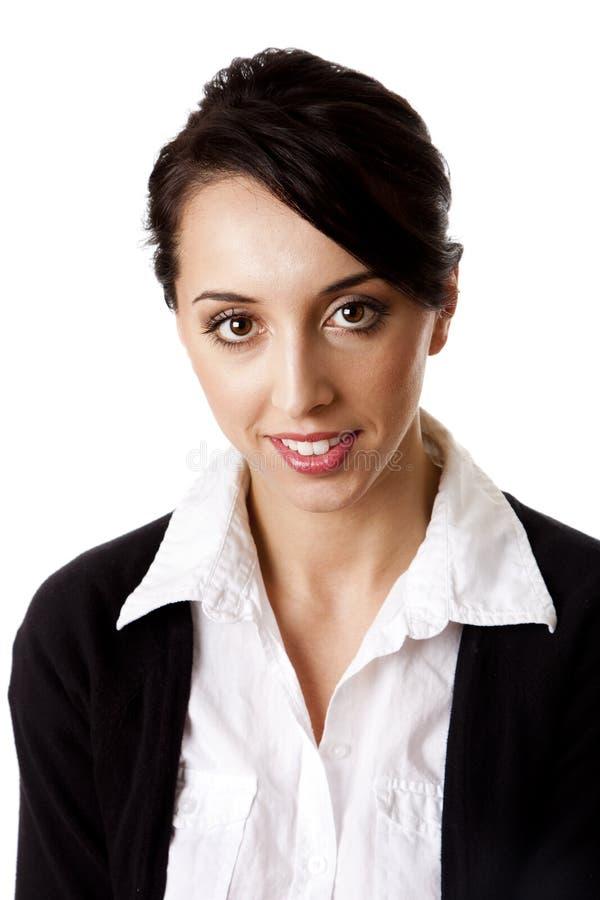 Visage heureux de femme d'entreprise constituée en société image libre de droits