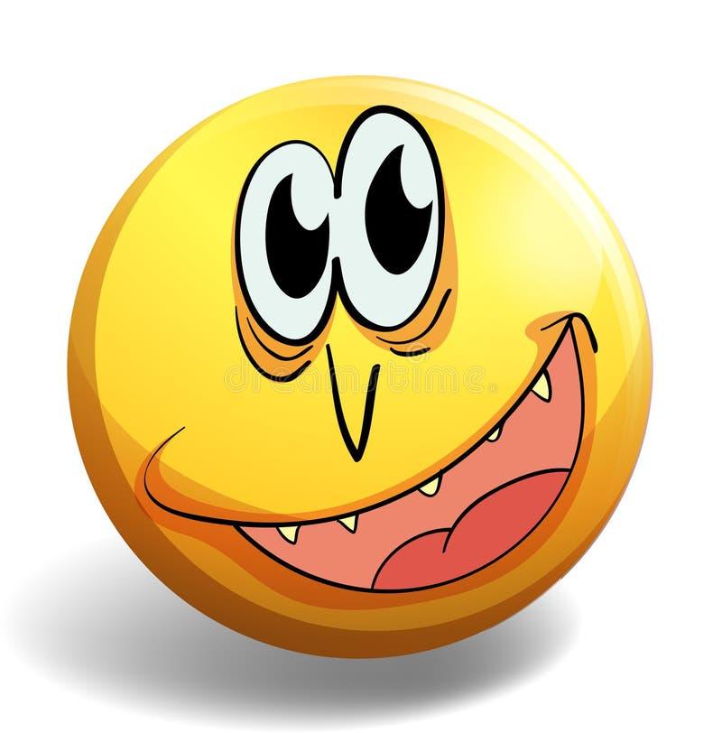 Visage heureux sur l'insigne jaune illustration stock