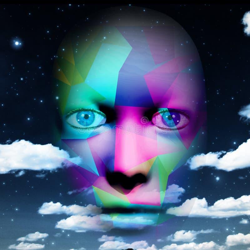 Visage humain coloré avec le ciel illustration stock