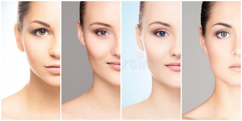 Visage humain dans un collage Jeune et en bonne santé femme dans le concept de levage de chirurgie plastique, de médecine, de sta image libre de droits