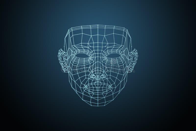 Visage humain, grille rougeoyante triangulaire, reconnaissance des visages biométrique de vérification Technologie de la reconnai illustration libre de droits