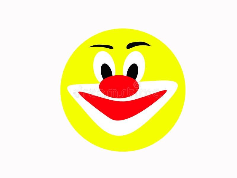 Visage jaune riant rond d'un joyeux clown sur un fond blanc illustration de vecteur