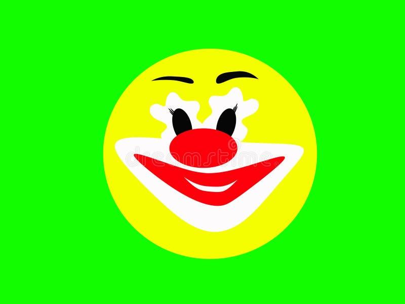 Visage jaune riant rond d'un joyeux clown sur un fond vert illustration de vecteur