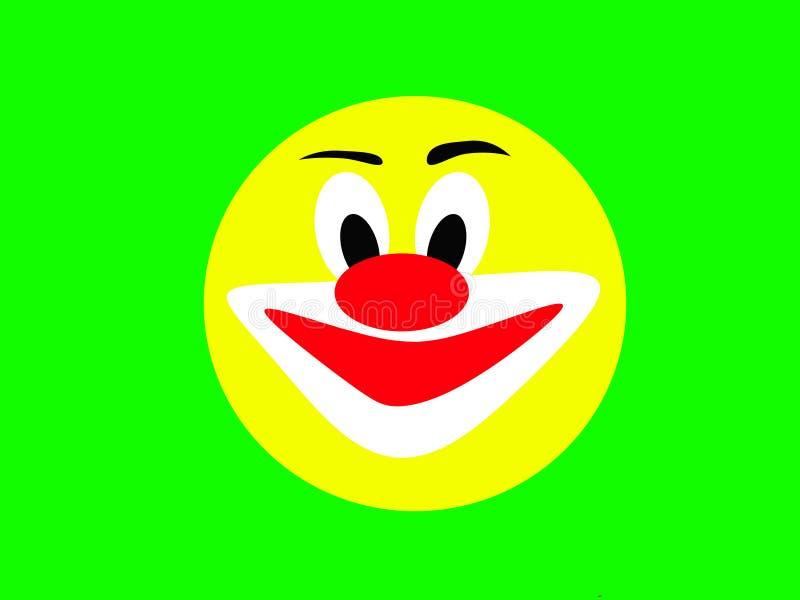 Visage jaune riant rond d'un joyeux clown sur un fond vert illustration stock