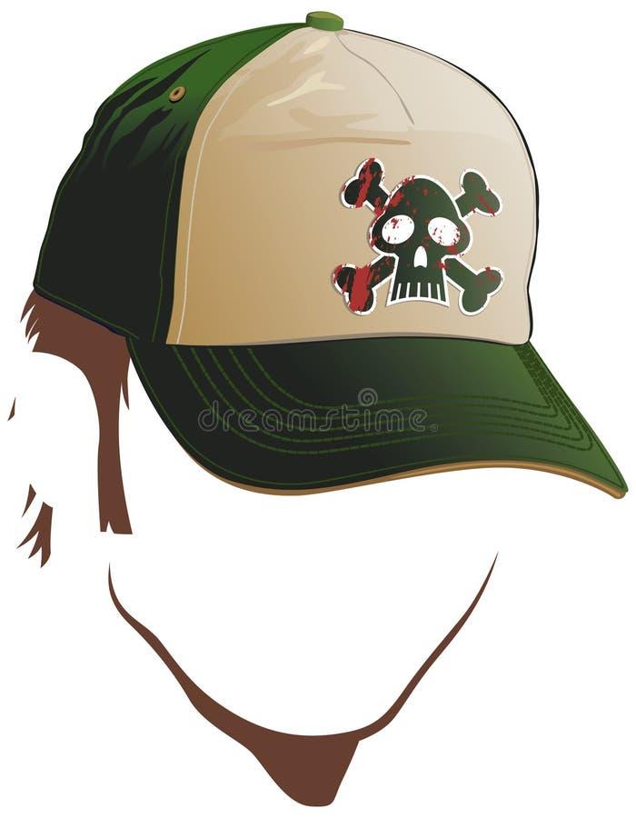 Visage mâle avec le capuchon de crâne illustration stock