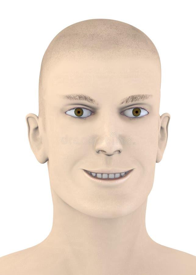 Visage mâle - sourire bizarre illustration stock