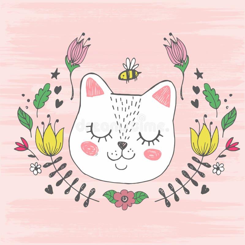Visage mignon de chat de kawaii avec l'abeille, fleurs Illustration de vecteur de dessin de main illustration de vecteur