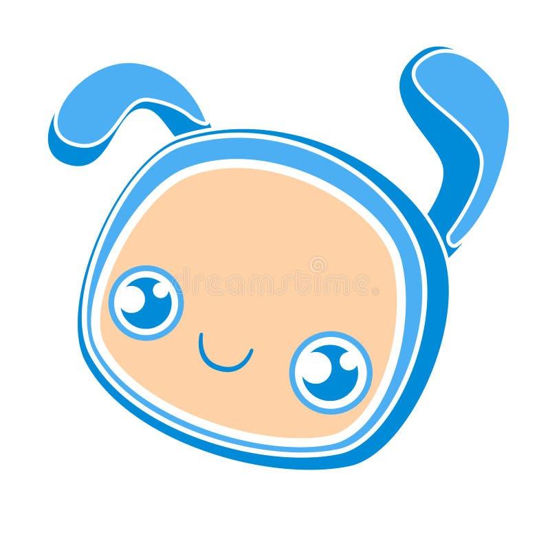 Visage mignon de lapin de bébé, illustration plate de vecteur de bande dessinée Couleur bleue d'affiche de crèche Petite t?te ani illustration stock