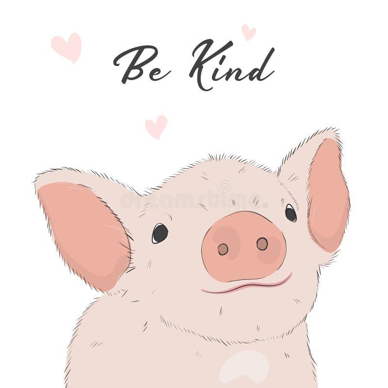 Visage mignon de porc Copie puérile de ferme pour le tissu, T-shirt, affiche, carte, fête de naissance Vecteur Illustrtion de por illustration de vecteur