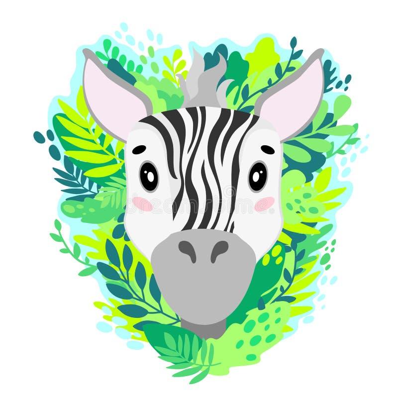 Visage mignon de zèbre de vecteur dans la jungle Pour la copie sur un T-shirt, une photo dans la crèche illustration de vecteur